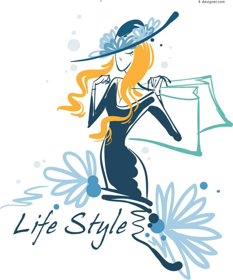 Fashion shopping lady illustrator vector material