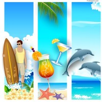 Fashion summer vacation vertical banner vector material