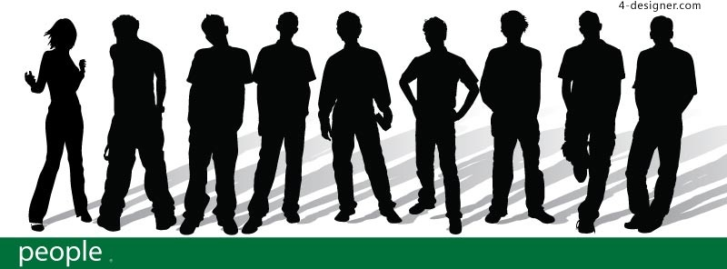 Fashion young people silhouette vector material