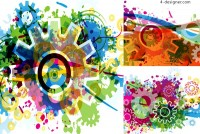 Fashionable and colorful gears background vector material