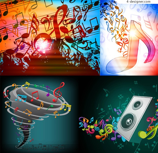 Fashionable and dynamic musical notes background vector material