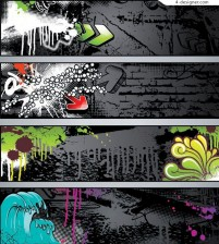 Fashionable graffiti banner background vector material