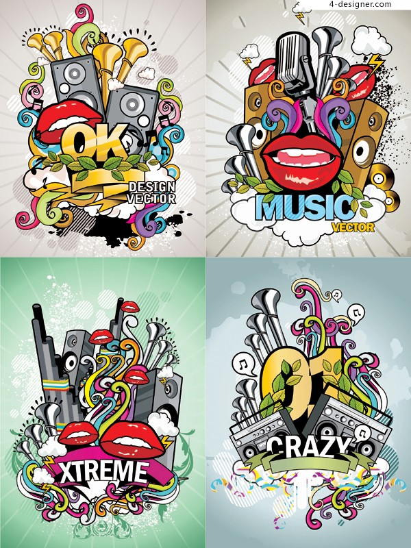 Fashionable music poster vector material