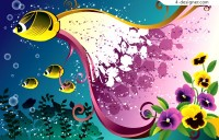 Fashionable undersea scenery vector material