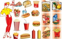 Fast food icon vector material