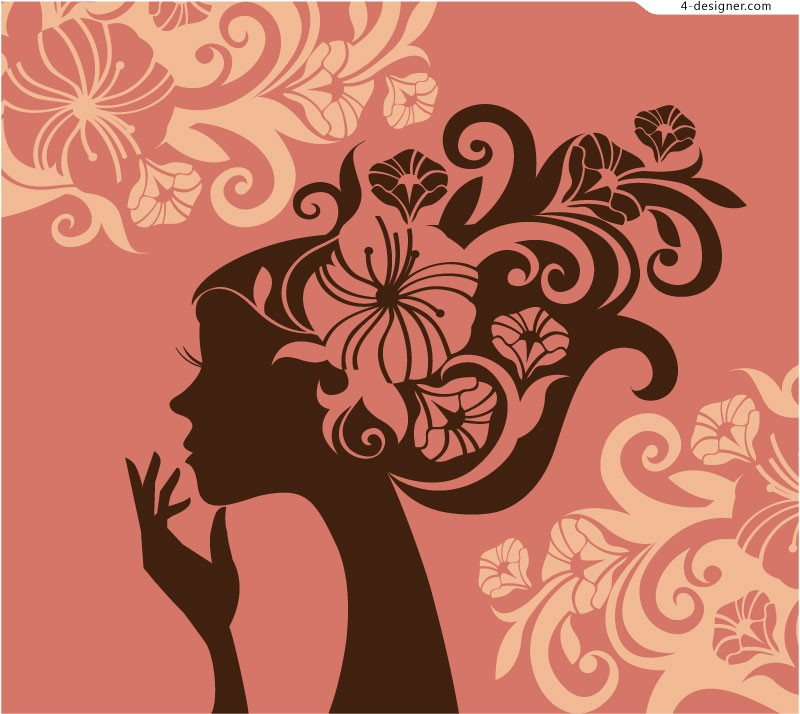 Figure Woman silhouette vector material