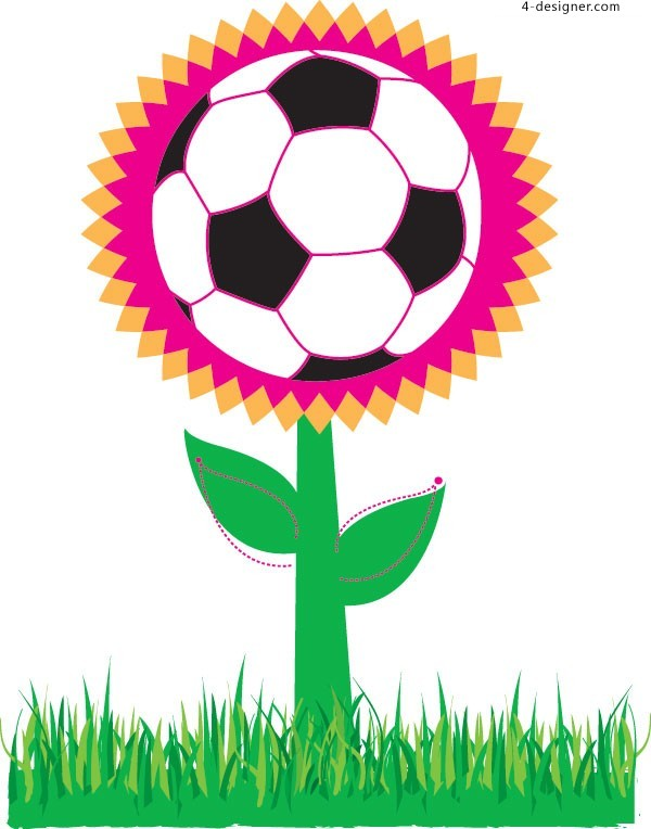 Football flowers vector material