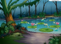 Forest pond vector material