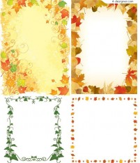 Four individual plant frame vector materials