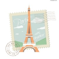 Fresh Eiffel Tower postcard vector material