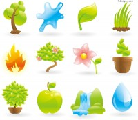 Fresh and natural icon vector material