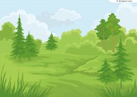 Fresh forest scenery vector material