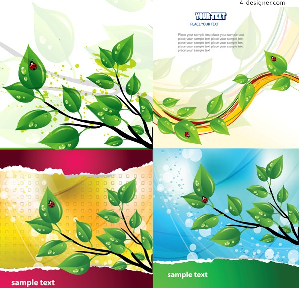 Fresh green leaves and ladybug vector material