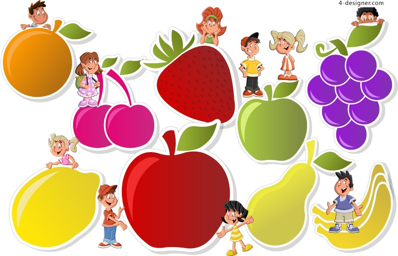 Fruit character label vector material