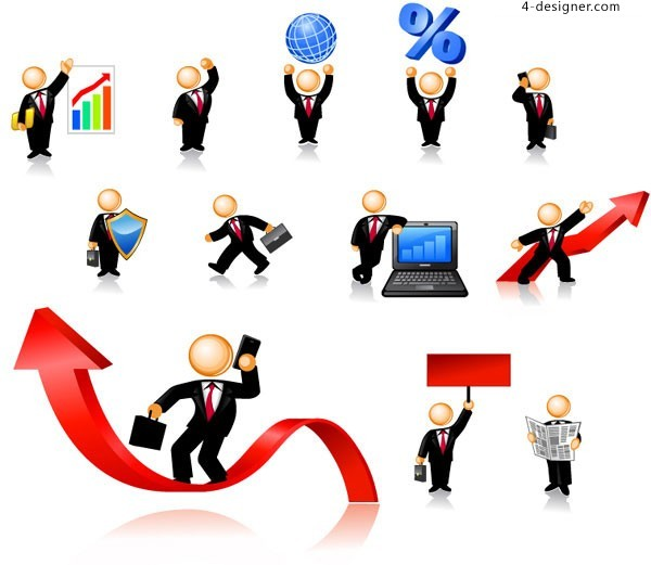 Funny business image character icon vector material