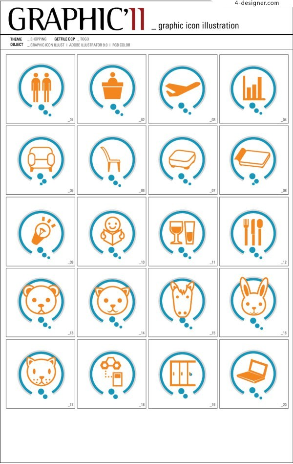 GRAPHIC Korean business and little animal vector icons