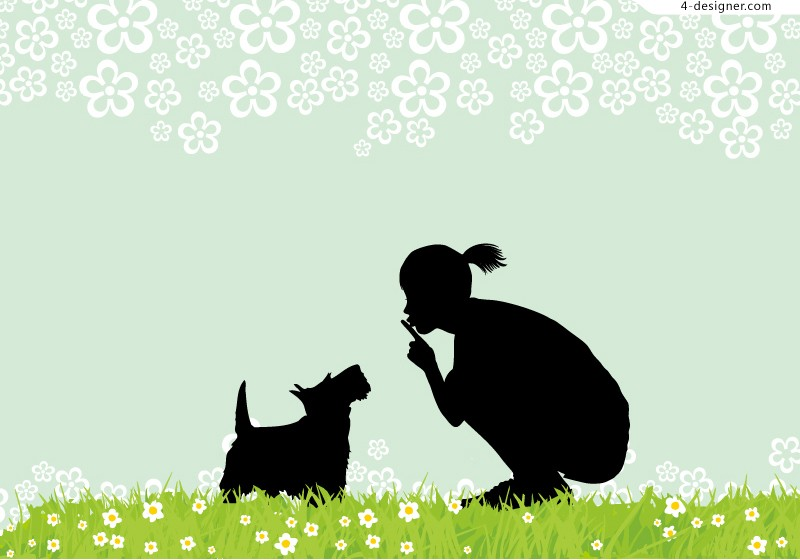 Girl with pet silhouette vector material