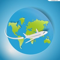 Global Flight travel clip art vector material