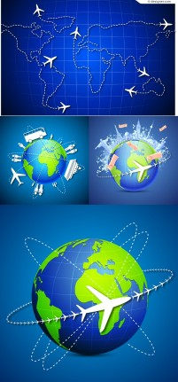 Global travel background vector material