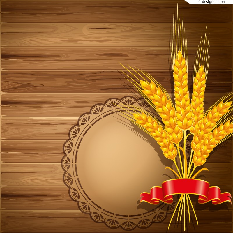 Golden wheat background vector material