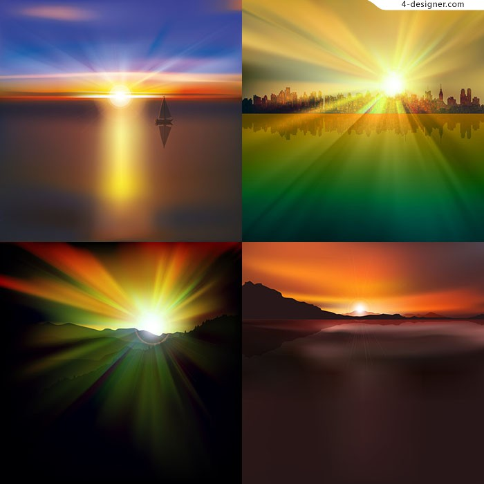 Gorgeous sunrise and sunset background vector material