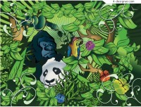 Green jungle animals vector material