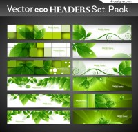 Green leaves creative banner vector material