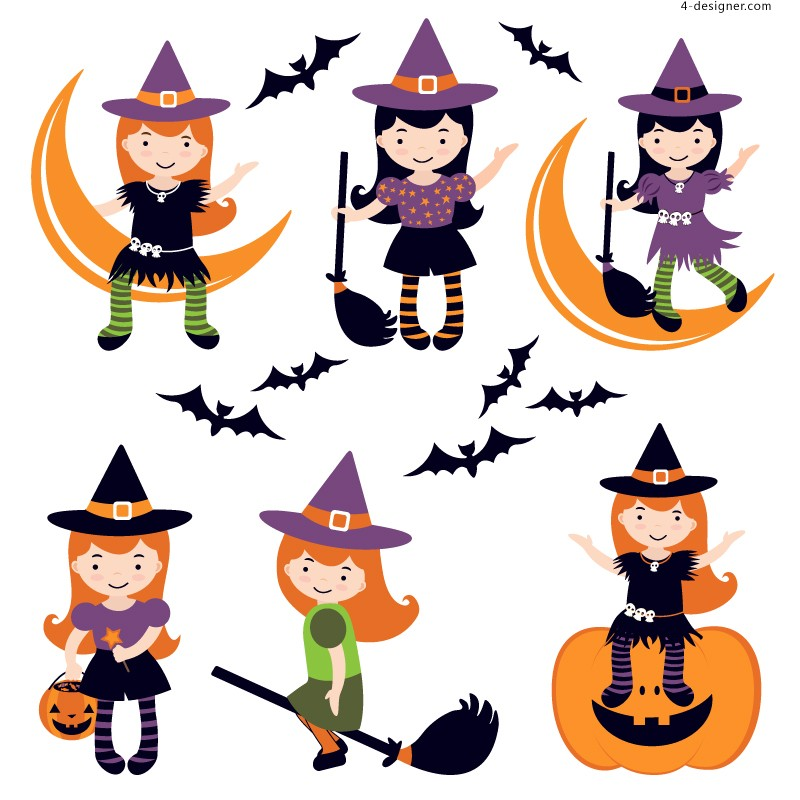 Halloween little witch vector material