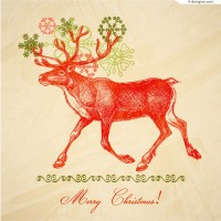 Hand drawn style elk vector material