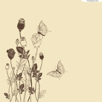 Hand painted butterfly flowers vector material
