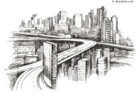Hand painted cityscape vector material