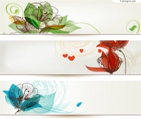 Hand painted flowers banner design vector material