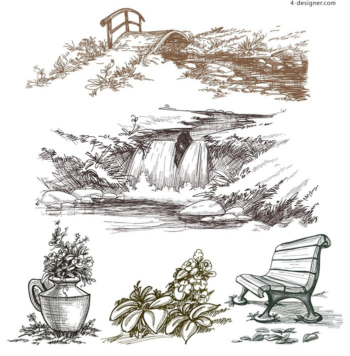 Hand painted landscape still life vector material