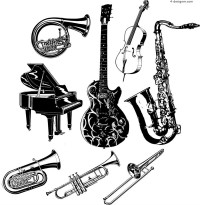 Hand painted musical instruments vector material