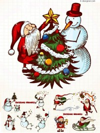 Hand painted warm Christmas vector material