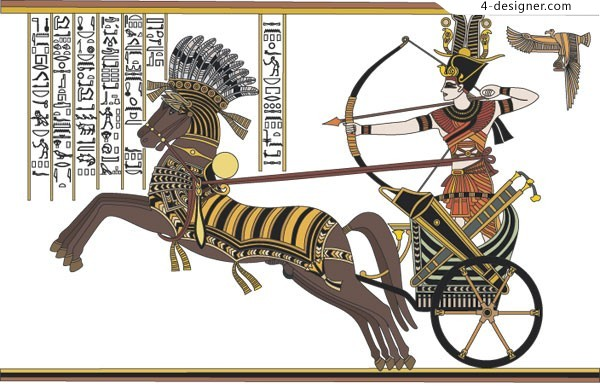 Hand painted warriors of ancient Egypt vector material