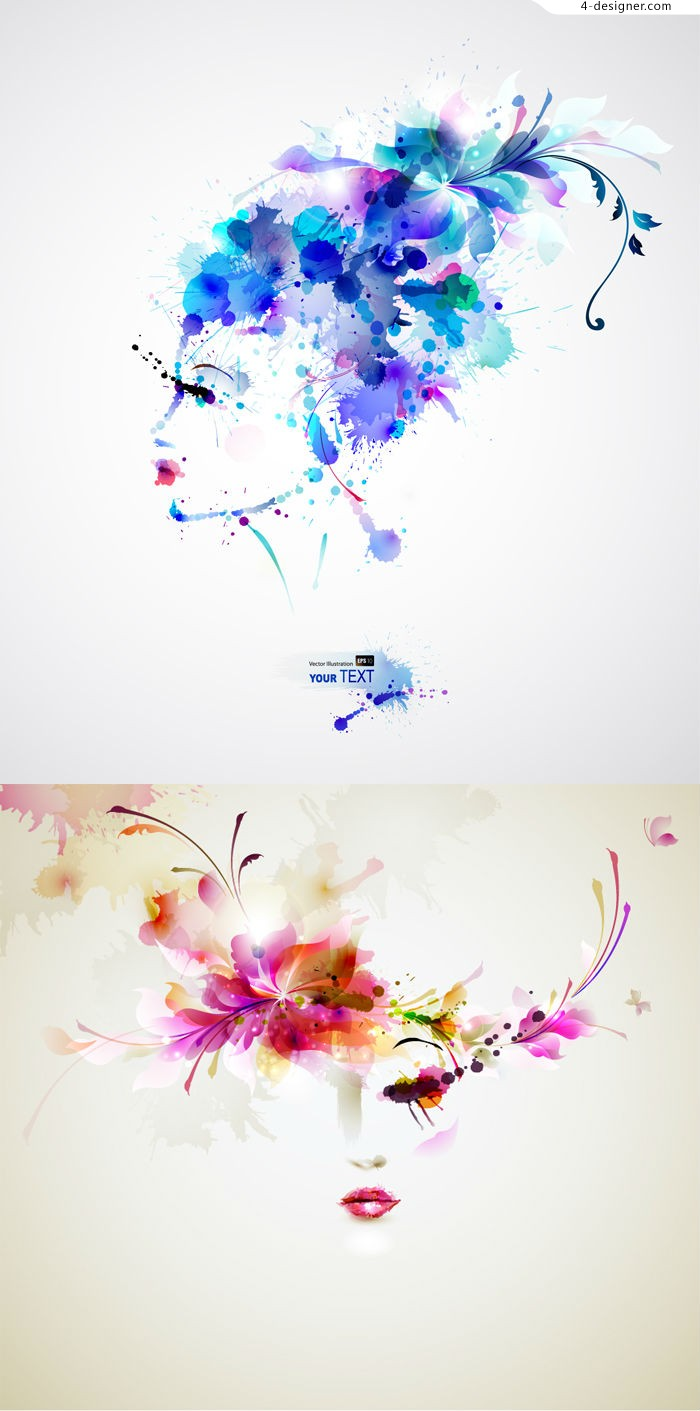 Hand painted watercolor beauty vector material