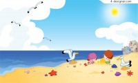 Happily playing children on beach vector material