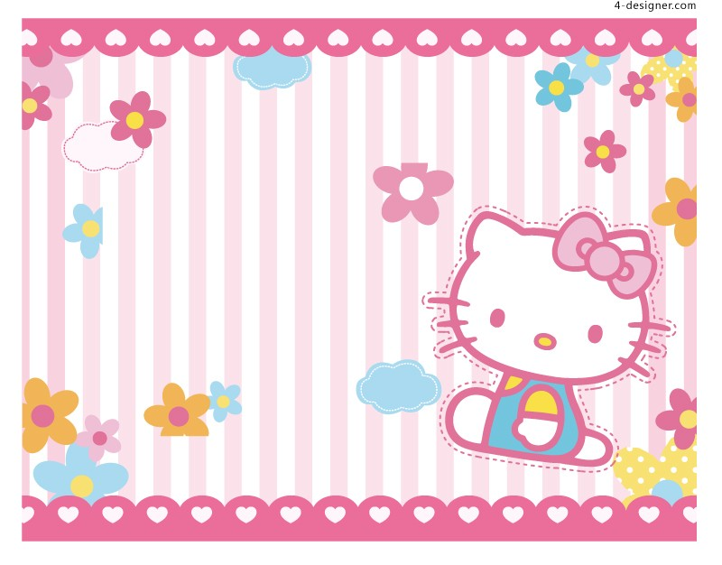 Hello kitty background vector material