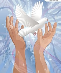 Holding a white dove of peace theme vector material