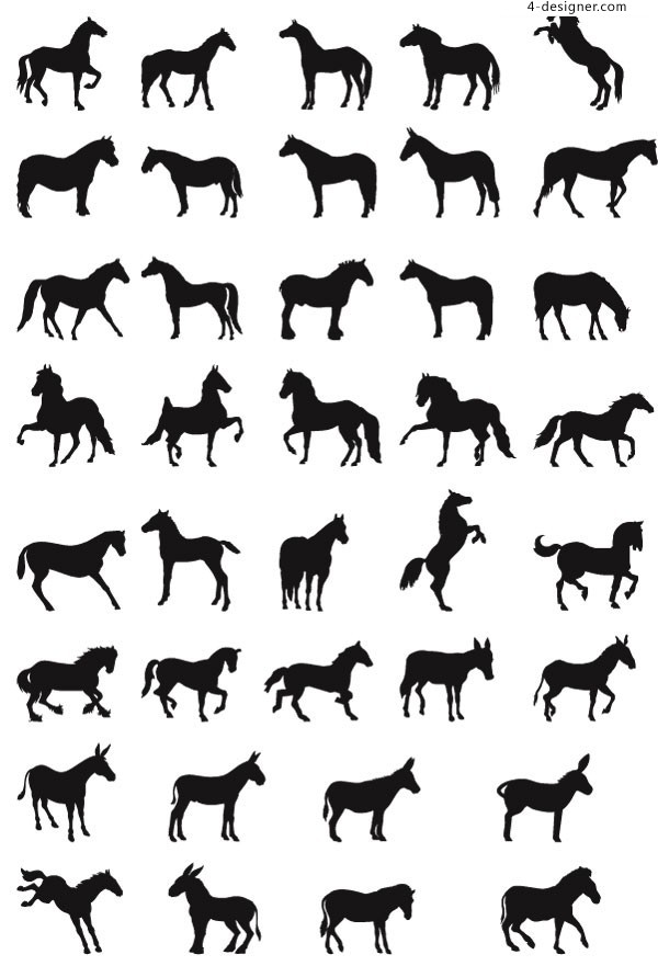 Horse silhouette vector material