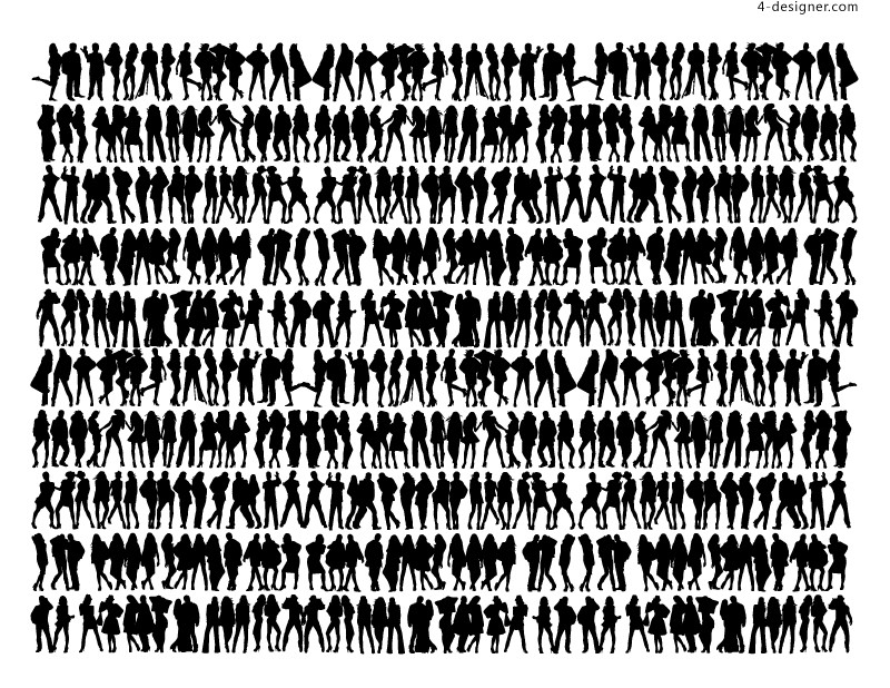 Hundreds of dynamic figures silhouettes vector materials