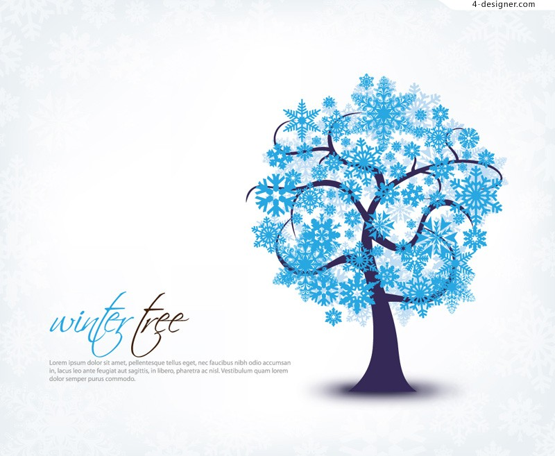 Ice snowflake tree vector material