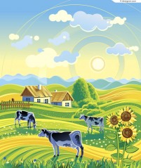 Idyllic countryside illustrator vector material