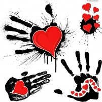Ink handprint and red heart vector material
