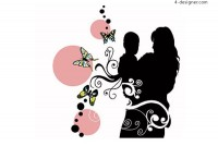 Intimate mother and son and fashion pattern silhouette vector material