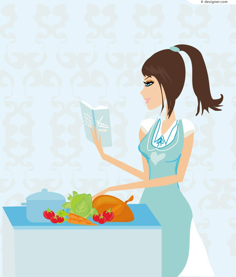 Kitchen cooking girl vector material