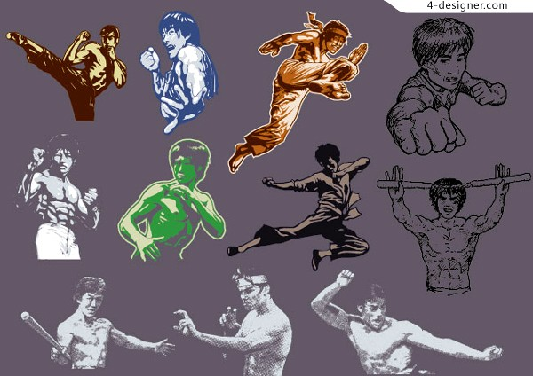 Kung fu character Bruce Lee s line drawing portrait vector material