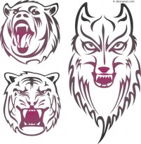 Langhu Bear ferocious animal heads vector material
