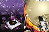 Microphone and DJ music theme trend vector download